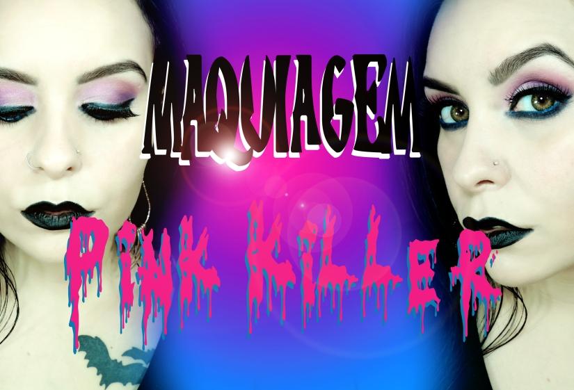 maquiagem rosa batom preto gotica suave
